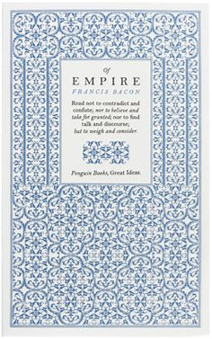 Book Cover// Of Empire, by Francis Bacon - Designer: David Pearson