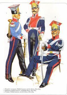 Napoleon's Guard Cavalry Polish Lancers 1810-14 1_Brigadier-trompette service dress 2_Subaltern, campaign dress 3_Trooper, service dress