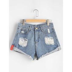 SheIn(sheinside) Distressed Rolled Hem Denim Shorts ($13) ❤ liked on Polyvore featuring shorts, blue, bleached shorts, denim short shorts, bleached jean shorts, ripped shorts and destroyed shorts