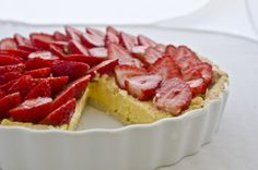 laudree's recipe for a sweet almond pastry dough tart crust filled with a homemade rich and sweet passion fruit curd all topped with fresh sliced strawberries