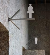 Love this toilet sign very elegant and classy walnut for Cool bathroom signs
