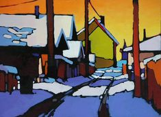 An Alley Tale, by Mike Svob, Canadian artist Canadian Painters, Canadian Artists, Landscape Art, Landscape Paintings, Landscapes, Small Paintings, Acrylic Paintings, Virtual Art, Forest Art