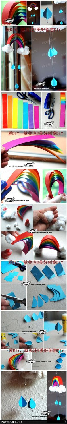 Rainbow Craft – It would look great to make lots of raindrops to hang in a window at springtime.
