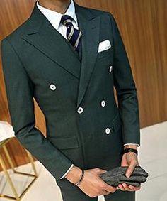 4d3304713de Dark Green Business Suit Groom Tuxedos Slim Fit for Men Wedding Suit 3 Pcs( Jacket+Vest+Pants ) Blazer Men Suit Double Breasted. Class Mens Fashion