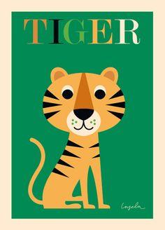 Affiche Ingela Arrhenius - Tiger - Ingela Arrhenius, Mes Habits Chéris - kidstore Récréatif - Décoration enfant