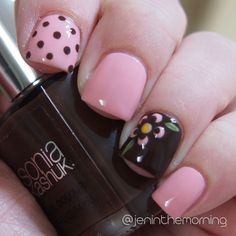 Pink and Chocolate  Sinful Shine – Sailor's Dream Sonia Kashuk – Chocoholic #nail #nails #manicure #cute #short #shortnails #dots #flowers