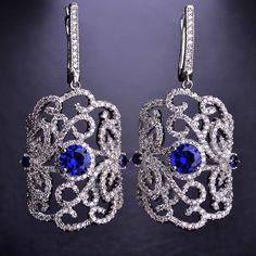 Vintage Women Fine Drop Earrings Long Aretes Bijouterie Copper CZ Rhinestone Bling Bling Elegant boucle d'oreille England Hook