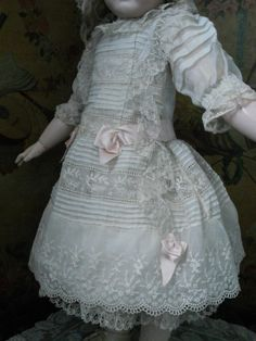 antique FRENCH BEBE ACCESSORIES | Superb French Muslin BeBe Dress with Matching Bonnet ~~~ from ...