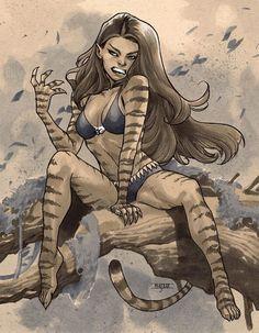 Wonderful Tigra by Mahmud Asrar. Marvel Comics Art, Marvel Heroes, Marvel Avengers, Comic Book Artists, Comic Books Art, Comic Art, Marvel Girls, Comics Girls, Marvel Women