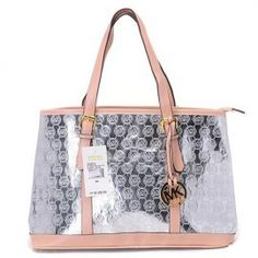 """Michael Kors Amangasett Straw Large Silver Totes Outlet Size:14"""" x 11"""" x 5 -Signature leather -Golden hardware -Hanging logo charm -Double handles; top zip closure -Fabric lining -Inside zip, cell phone and multifunction pockets -Flat bottom with feet to protect bag when set down"""