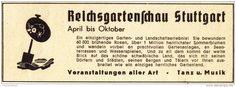 Original-Werbung/Anzeige 1939 - REICHSGARTENSCHAU STUTTGART - ca. 115 x 40 mm