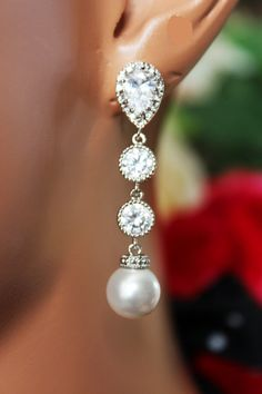 Long Crystal Drop Wedding Earrings Pearl Drop by AuroraJewelryBox