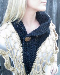 Black and Gold Crochet Scarf Unique One of a by EmilysPrettyThings, $69.00