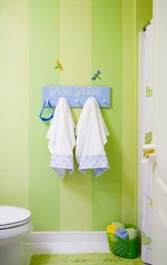 Our kids' bathroom is also our upstairs. I love these colors! And our bathroom is set up this way. I think it would be cute :) I also like that towel holder better than a standard towel holder :)