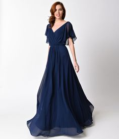 1930s Style Evening Dresses Plus Size Navy Flutter Sleeve Long Dress $101.00 AT vintagedancer.com
