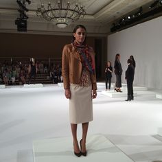 Camel Leather Quilted Sleeve Biker Jacket, Doeskin and Buff Bambi Print Pullover, Bambi Print Chiffon Square, Buff Tropical Wool Bistretch Trimmed Zip Skirt WORTH NEW YORK Fall 2014