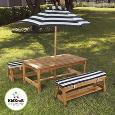 For Kids Only, Inc. Outdoor table and Chair Set with Cushions and Navy Stripes « zPatioFurniture.com