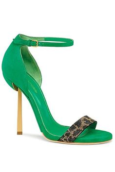Sergio Rossi Green Ankle Strap Sandal with Animal Print Strap Spring Summer 2014 #Shoes #Heels