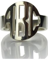 Personalized Circle Block Monogram 3 Initials Ring Solid White Gold Ring