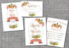 Set kaarten bruiloft (save the date, RSVP, uitnodiging) bloemen romantisch meer info Krijtperk