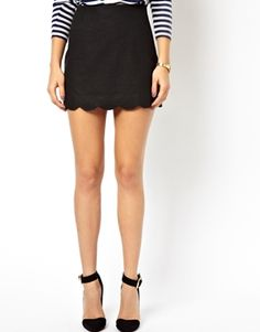 Enlarge ASOS Linen Mini Skirt with Scallop Hem