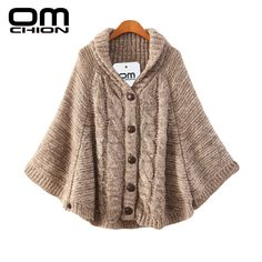 Poncho 2016 Autumn Winter Sweater Women Thick Hooded Casual Cardigan Long Sleeve Fashion Female Loose Cloak Outwear LMY11