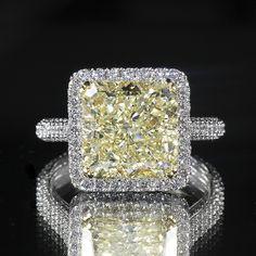 7.70ctw Gancy Yellow Radiant Diamond with Brilliant Round Accents Ring #wonderjewelers #diamond #ring #wedding
