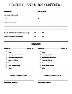 Conflict resolution worksheets and posters conflict resolution this conflict resolution form is for use when two students need to come to an agreement platinumwayz