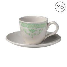 Rose set 6 teacups green