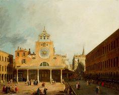 Canaletto, Plac przed kościołem San Giacomo di Rialto w Wenecji
