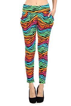 04296ff52502f7 Simplicity Womens Bold Print Parachute Pants Zebra Print Hip Hop Pants SM  >>> Click
