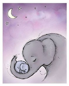 Illustration Sad Wall Art Goodnight Elephant Nursery Purple by GrubbyPrincess Illustration SadSource : Wand Kunst Goodnight Elefanten Kindergarten lila von GrubbyPrincess by schaefer_sari Elephant Love, Elephant Art, Elephant Tattoos, Baby Elephant Drawing, Elephant Applique, Baby Drawing, Baby Elefant, Art Carte, Art Et Illustration