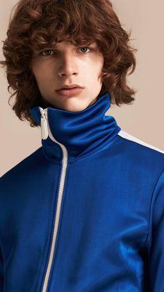Stripe Detail Zip Front Jacket Atlantic Blue | Burberry