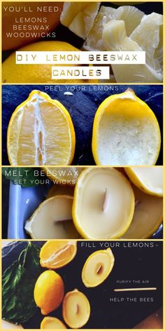 DIY Lemon beeswax candles – twineandtable Purify the air and bring the sun inside with homemade lemony candles. Homemade Candles, Diy Candles, Candle Decorations, Diy Candle Ideas, Natural Candles, Pillar Candles, Beeswax Candles, Candle Wax, Glass Candle