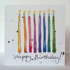 Fantastic Snap Shots Birthday Candles illustration Popular Time to inflatable along with! The exact same thing up to your age! Of course not surprisingly, it i Watercolor Birthday Cards, Birthday Card Drawing, Watercolor Cards, Watercolor Postcard, Watercolour Illustration, Happy Birthday Signs, Free Birthday, Paint Cards, Creative Cards