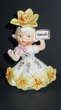 RARE VTG Napco March Flower Birthday Girl Figurine