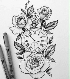 watch design for a client by / /. - & Pocket watch design for a client by / /. - ❤️️toll, Pocket watch design for a client by / /. Flower Tattoo Designs, Tattoo Designs For Women, Flower Tattoos, Designs To Draw, Tattoos For Women, Drawing Designs, Rose Drawing Tattoo, Tattoo Sketches, Tattoo Drawings