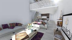 Salón de apartamento con vistas al dormitorio superior.