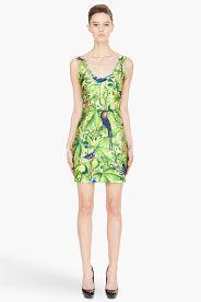 green jungle-print stretch Dress