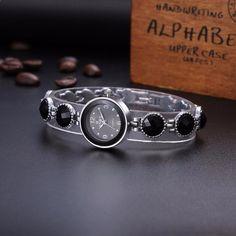 Hot New Luxury Silver Stainless Black Stone Women Dress Fashion Quartz Watch Quartz Watch, Women's Fashion Dresses, Diamond Earrings, Alphabet, Watches, Luxury, Silver, Black, Jewelry