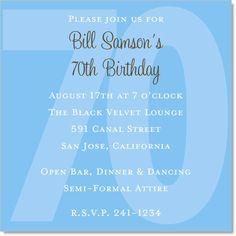 70th birthday invite