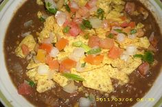 Cold Rainey Day = Black bean soup with pico and crumbled tortilla chips!
