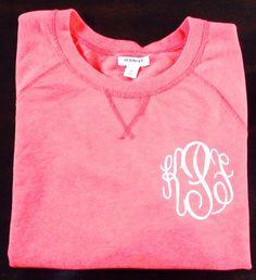 Ladies monogrammed sweatshirt by Caddybug on Etsy, $20.00