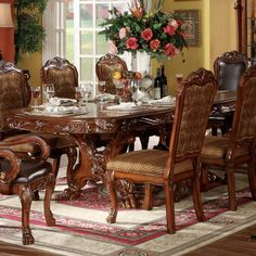 Acme Furniture Double Pedestal Dining Table in Cherry Oak