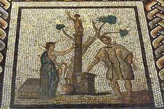 The Sacrifice to Taranis on the Gallo-Roman calendar mosaic; it's identified as the month of June.