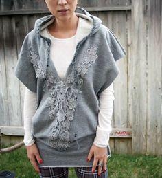 sweatshirt fleece cutout hooded tunic by KayLim on Etsy