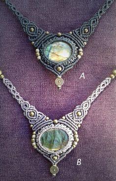 Magic STONE in MACRAME necklace,special talisman, brass necklace, boho jewelry…