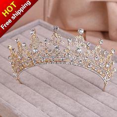Gold Silver Two Tone Bridal Tiara Crown Crystal Pageant Bridal Wedding Accessories Headpiece Headband Wedding Tiara Rhinestone