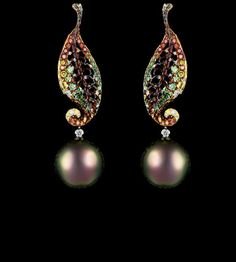jewellery theatre, london: autumn collection earrings - amazing matching of the colors of the gems and the pearls