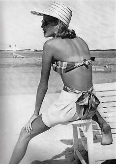 Harper's Bazaar, 1948, straw hat, bikini, beach Women's vintage summer fashion photography photo image